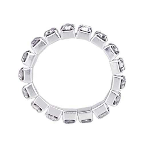 SODIAL(R) Anillos De Dedo Elasticos Anillos De Dedo de Pie Con Diadamentes Artificiales - Blanco