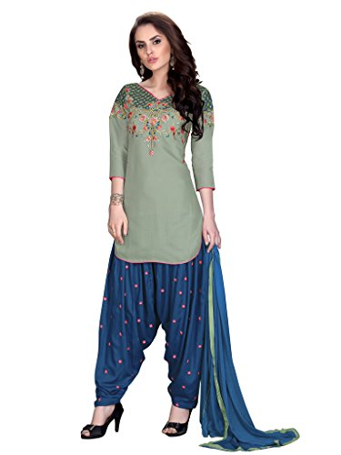 Salwar Suit (Vaikunth Fabrics Light Green And Navy Blue Colour Cambric Cotton Embroidered Semi Stitched Patiala Suit )