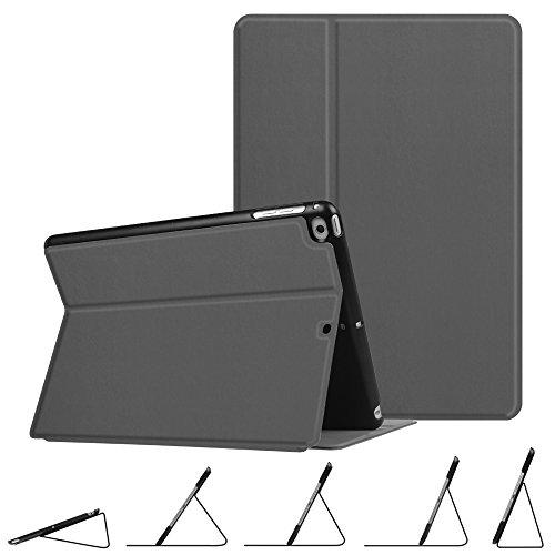 Fintie Coque pour iPad 9.7 Pouces 2018 2017 / iPad Air 2 / iPad Air - Ultra-Mince léger Multi-Angle Viewing Housse Etui, avec Fonction de Support et Sommeil/Reveil Automatique, Gris Sidéral