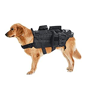 SlowTon-Tactical-Dog-Vest-Adjustable-Waterproof-Training-Molle-Harness-with-3-Detachable-Pouches-and-2-handles-Quick-Release-Military-Service-Police-Medium-Large-Dogs-Harness-for-Walking-Hiking-a-Blac
