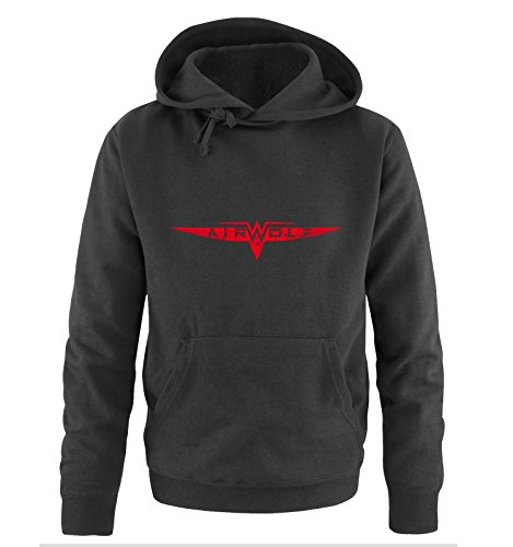 AIRWOLF - LOGO - Herren Hoodie by Comedy Shirts Schwarz / Rot