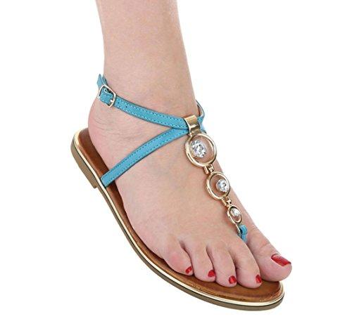 Damen Sandalen Schuhe Sommerschuhe Strandschuhe Zehentrenner Camel Hellblau 36 37 38 39 40 41 Hellblau