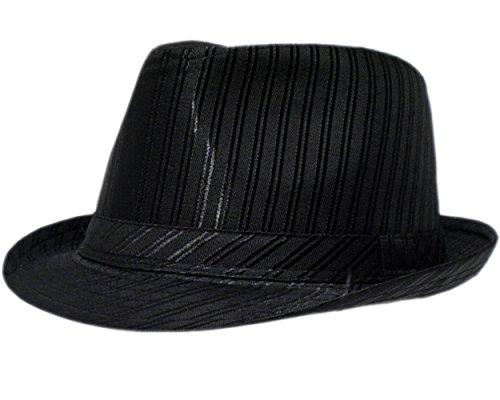 8d5f72d5dd0 Mens Prince Of Wales Satin Stripe Trilby Fedora Hat in Black
