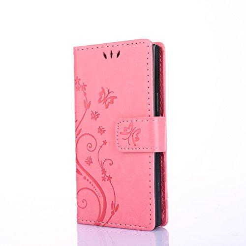 Sony Xperia XZ1 compact Hülle, Xperia XZ1 compact Handyhüle, Alfort PU Leder Schutzhülle Geprägter Schmetterling Lederhülle Tasche Wallet Case Cover für Sony Xperia XZ1 compact Smartphone (Rose rot)