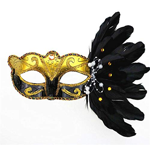 shunlidas Ornaments for Bedroom Schmuck Skulptur Desktop Maske Maskerade, Weihnachten Halloween, Gefiederte Maske, Geburtstagsfeier Größe 25 * 20Cm
