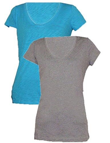 Designer Brand - T-shirt - Femme - Grey & Blue