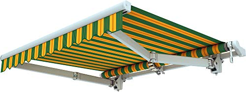 Broxsun Gelenkarmmarkise Acapulco | Breite 1.95 bis 7m | 120 Stoffe Farben | Auslage bis 3.6m. manuell oder elektrisch | wetterfeste Markise mit Motor Sonnenschutz Terrasse beschattung breit