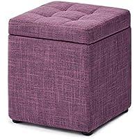 Escabel   Taburete de almacenamiento   Sofá de la sala de estar Cambio de vestido Taburete de zapatos   Taburete de taburete de pie tapizado   Reposa pies pequeña silla / asiento   Puf de almacenamiento Puf reposapiés   Banco de silla otomana   Tela de lino púrpura