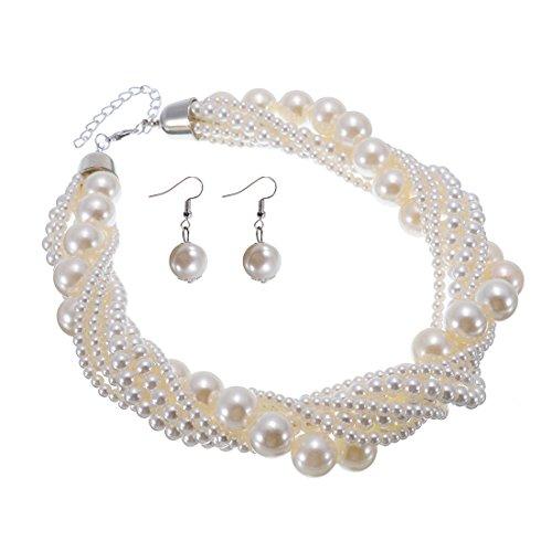 Jerollin Damen Kette Perlenkette Bead bib Choker Collier Collar Halskette Necklace Statement Ketten Ohrringen Ohrstecker Schmuck Set (Saphir-krawattennadel)