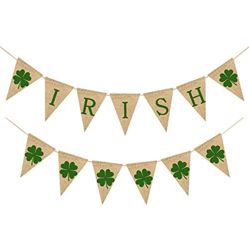 Amosfun St. Patrick 's Day Dekoration irische Banner Sackleinen Girlande vierblättriges Kleeblatt Girlande