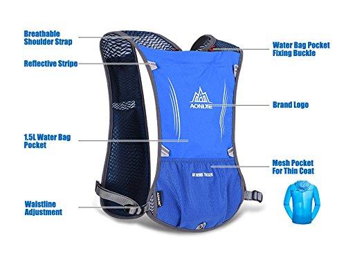 Imagen de aonijie ligero al aire libre agua hidratación  senderismo ciclismo bolsa de deporte con botella soporte para bolsa de agua 1.5l, azul alternativa