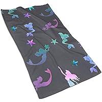 N/A Colored Beautiful Mermaid Print Hand Towels Extra Large Hand Towels Quick-Dry Hand Towels