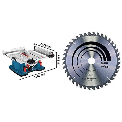 Bosch Professional Tischkreissäge GTS 10 XC (2100 Watt, Sägeblatt-Ø: 254 mm, Sägeblattbohr-Ø: 30 mm, im Karton) + Bosch Zubehör 2608640443 Kreissägeblatt Optiline Wood 254 x 30 x 2,8 mm, 40