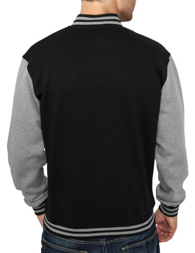 Urban Classics Herren Jacke Bekleidung 2 Tone College Sweatjacket Black/Grey