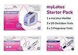 Starter Pack de fertilidad de myLotus con tecnología cuantitativa avanzada (1 monitor, 60 pruebas de ovulación y 9 pruebas de embarazo)