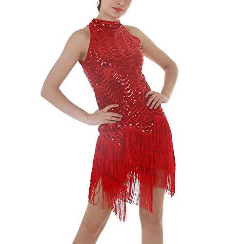 Kostüm Tänzer Halloween Ballsaal - XXEE Damen Retro Latein Kleid 1920er Jahre Paillette Quasten Saum Verein Party Tänzer Sänger Entertainer Kleid, Rot,Red,M