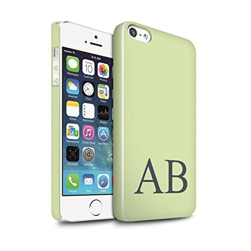 Personalisiert Pastell Monogramm Glanz Hülle für Apple iPhone SE / Grünes Design / Initiale/Name/Text Snap-On Schutzhülle/Case/Etui Grünes