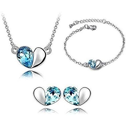Set collana, bracciale e orecchini con cuore