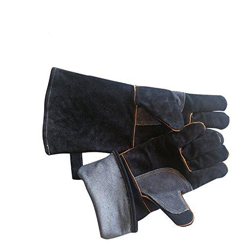 Hanshi Baumwolle gefüttert und Kevlar Nähte Schweißer Handschuhe Holz Brenner Zubehör Handschuhe hitzebeständig Herd Fire und Barbecue Handschuhe lang Länge Manschetten 400mm (hct09) Schwarz  -