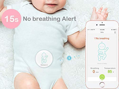 Sense-U Baby Monitor Breathing Temperature Rollover Movement Portable Alarm Alert you for No Breathing Movement, Stomach Sleeping, Overheating and Getting Cold(2019 Updated Version) Sense-U KNOW YOUR BABY'S BREATHING IS OKAY: Monitor your baby's breathing while they sleep, with audible alarm for no breathing movement and fast breathing movements(60+/min) from your smartphone, and notify you if something appears to be wrong. NOTIFY YOU FOR STOMACH SLEEPING: Monitor your baby's sleep position and notify you when your baby rolls over to stomach sleeping. PROTECT YOUR BABY FROM OVERHEATING & GETTING COLD: Monitor your baby's ambient temperature/humidity level around their body with built-in thermometer and notify you when levels go outside of preset zones. (2018 New Model: Temperature hole moved from bottom to top for faster overheating & cold detection) 2