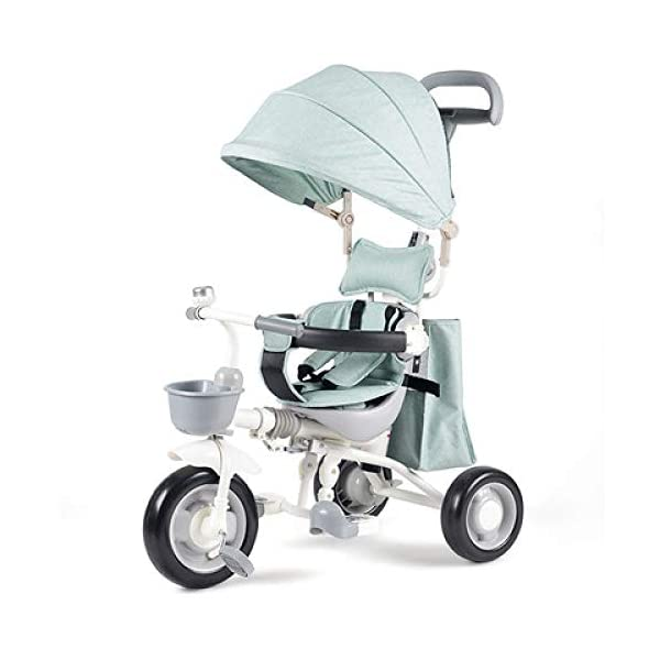 4 In 1 Childrens Tricycles Easy Installation 1 To 5 Years Folding Trike Adjustable Push Handle Folding Sun Canopy 3 Wheel Toddlers Children Ride On Pedal Trike Bike Maximum Weight 40 Kg,Blue-OneSize BGHKFF *Material: Carbon steel + ABS, suitable for children from 1 to 5 years old, the maximum weight is 40 kg, the whole frame is painted with paint to effectively prevent the frame from bumping and rusting. *High-performance space wheel, SUV-type shock absorber protection, built-in shock absorber spring, effectively alleviating the vibration caused by uneven road surface * Cotton and linen fabric, combined with comfortable pillow, breathable, non-slip, comfortable 1