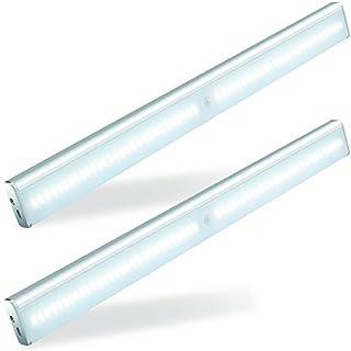 2 Paar* 56 LED Schrankbeleuchtung, LOFTer Hochwertig LED Schrankleuchte mit Bewegungsmelder, 4 Licht Modus mit Magnetsband Montage für Schrank Treppe Küche etc.(Weiß)