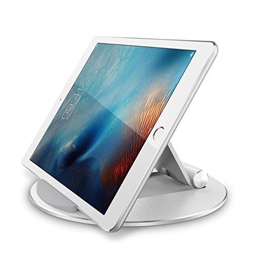 OMOTON iPad 10.2 Halter für iPad Pro/Air/Mini, Huawei, Samsung, Fire, Tablet Ständer Maximale bis zu 10.5 Zoll, verstellbare Handyhalterung, Stabiler Aluminium iPad Tablet Ständer, Silber -
