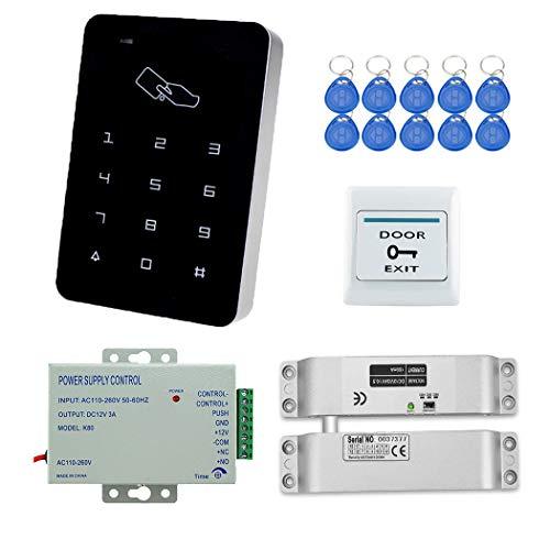 YAVIS RFID Zugangskontrolle System Kit Set Touchscreen Codeschloss Türöffner + Elektrische Schloss Drop Bolzenschloss + K80 3A-Netzteil + Exit-Taste + 10pcs RFID ID Keyfobs for Access Control System... -