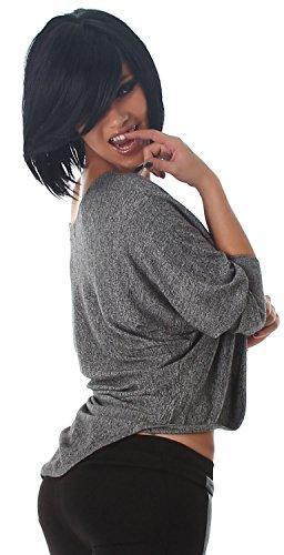 Jela London - Pull - Uni - Manches Longues - Femme Taille unique Gris - Gris
