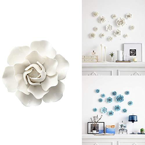 ALYCASO Handgefertigt Keramik Pfingstrose Blume Porzellan Ornaments Weiß 3D TV Wall Dekorationen Home Pediments, Weiß Peony- 12 cm Weiß -