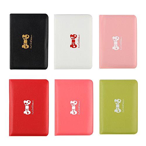 OneBelief PU de cuero de negocios titular de tarjetas de crédito con 12 ranuras para tarjetas (6 Pack) (Paquete de 6 (rosa / verde / blanco / rojo / sandía rojo / negro))