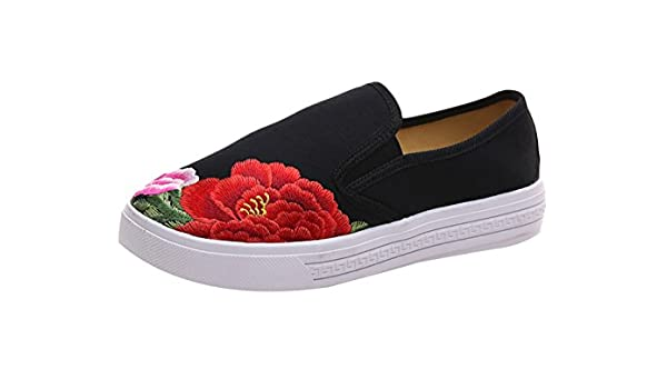 Insun Damen Espadrilles Blumenmuster Bestickte Freizeitschuhe Slipper Flats Schuhe Schwarz 37 EU