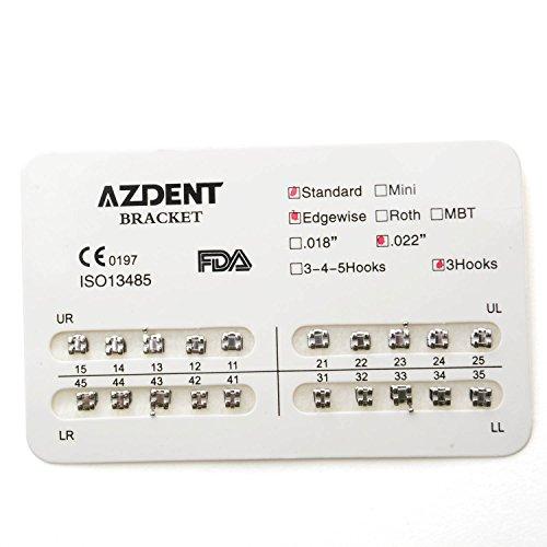 AZDENT® Dental kieferorthopädische Klammern Standard Hochkant 022,3 Haken (20 Stk./Satz)