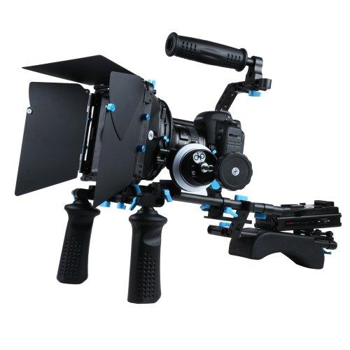 Fotga DP Series professionelle DSLR-Rig Set Film-Kit Film Making-System Follow Focus + Matte Box + Top Handle + 15mm Schienen-Rod-Trägerplatte + Peitsche + Frontgriff + C- Bracket + Power Supply System, die beste Wahl für DIY Ihre Rig Set, Verkauft nach Hersteller direkt. (M2 rig set) -