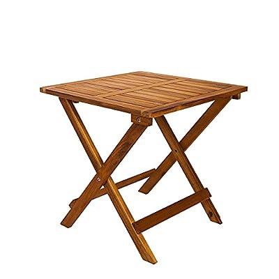 Beistelltisch Klapptisch Holztisch ideal für den Balkon, Garten, Camping aus Akazienholz 45 x 45 x 45 cm