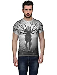 Wear Your Mind Multi-Coloured Poly Cotton Round Neck Printed T-shirt For Men CST004