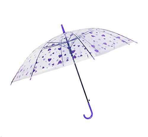 HAAC Transparenter Romantischer Regenschirm Herz lila 85 cm