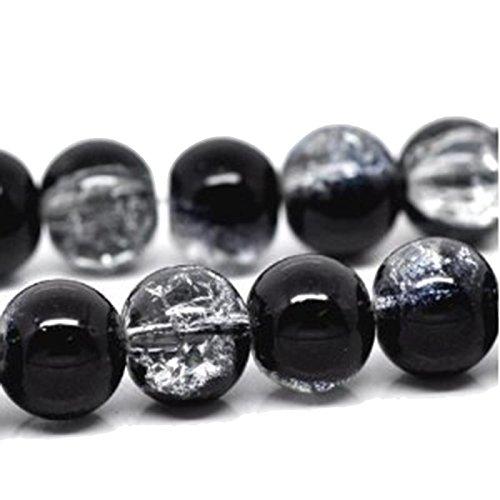 Charm Buddy 50 x Black & Clear Glass Crackle Beads10mm