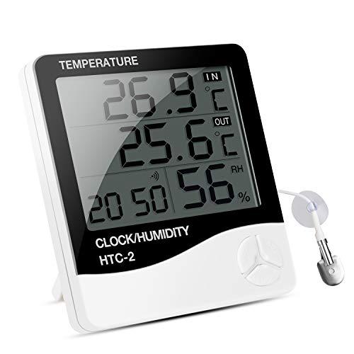 IREENUO Aquarium Thermometer Digitales Wasserthermometer Hygrometer Temperatur Feuchtigkeitsmesser, für Fish Tank Fisch Klima Unnen und Außen Monitor mit Alarm