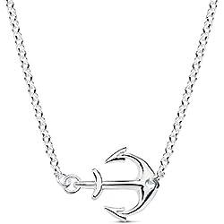 Iyé Biyé Jewels - Collar mujer niña ancla plata de ley 925 cadena rolo 43 cm ajustable