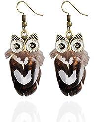 LUFA 1 paire de mode Lady Hook Dangle Owl Plume Animal Pendentif Pendentif cadeau