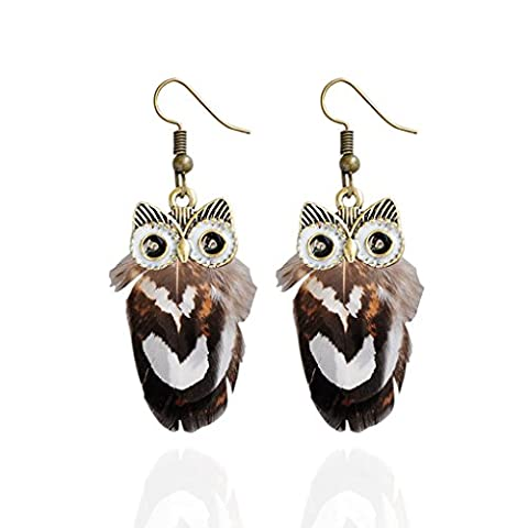 Babysbreath 1 paire de mode Lady Hook Dangle Owl Plume Animal Pendentif Pendentif cadeau