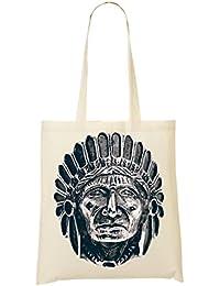 Stone Carved Indian Chief Indian Tribal Photo Artwork Bolso De Mano Bolsa De La Compra