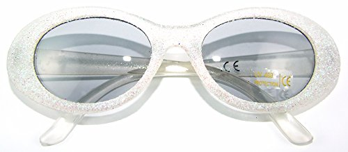 Sixties Glitter Party Brille Oval Weiß