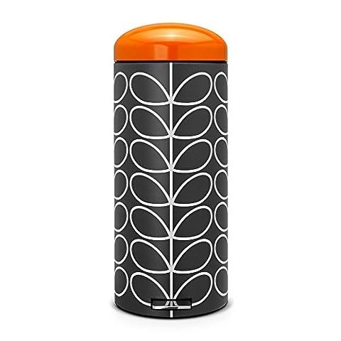 Brabantia Poubelle retro bin silent 30 litres Orla Kiely Charbon couvercle orange