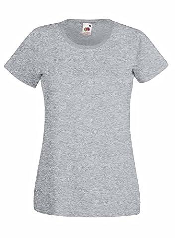 Fruit of the loom Damen T-Shirt Valueweight T Lady-Fit, Grau (Heather Grey 123), Medium (Herstellergröße: M (12)