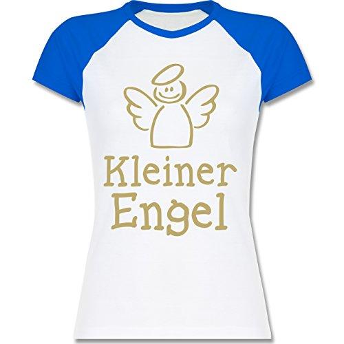 Shirtracer Typisch Frauen - Kleiner Engel - Zweifarbiges Baseballshirt/Raglan T-Shirt für Damen Weiß/Royalblau