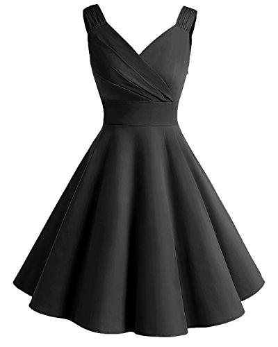 df2c019962ab Bridesmay Damen Vintage 50S Retro Partykleid Rockabilly Knielang  Cocktailkleid Black L