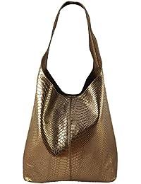 d4245d882eea9 Freyday Damen Ledertasche Shopper Wildleder Handtasche Schultertasche  Beuteltasche Metallic look