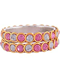 URBAN FASHION PRO Pink And Gold Plated Bangle Set For Women